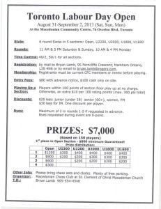 2013 Toronto Labour Day Open flyer
