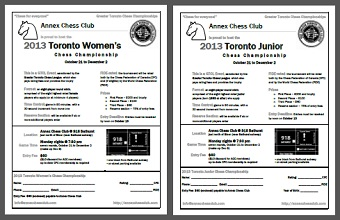 2013 Toronto Womens and Junior Chess Championship flyers