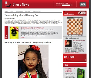 Harmony Zhu featured on ChessBase website