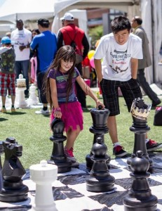 giant chess with a little coaching